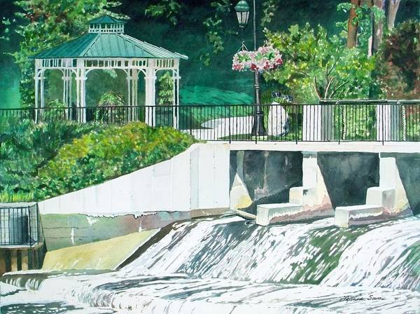 Dam Poster featuring the painting The Rockford Dam by LeAnne Sowa