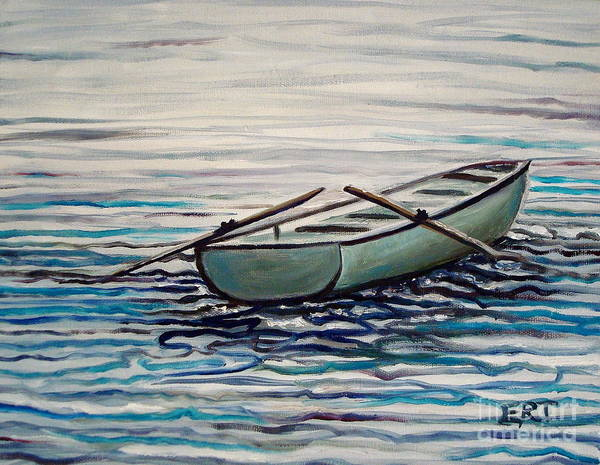 Water Poster featuring the painting The Row Boat by Elizabeth Robinette Tyndall