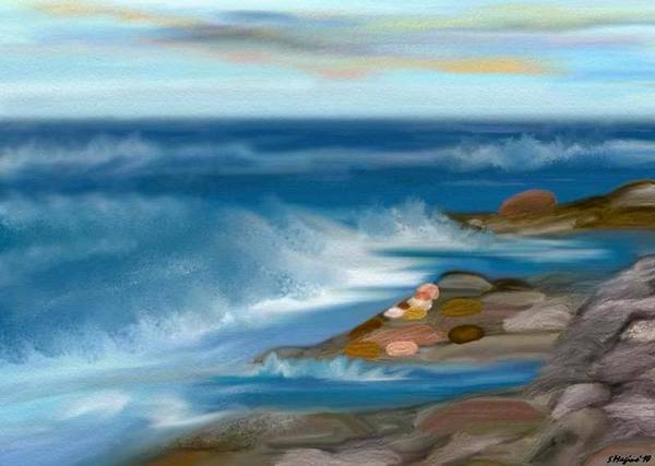 Water Rushing Rush Rocks Cliffs Waves Storm Lightning Sky Heaven Heavens Sand Sea Flash Prayer Prayers Judaica Judaism Poetry Poem Hannah Senesh Ocean Sea Oceans Poster featuring the painting The Rush Of The Water by Sher Magins