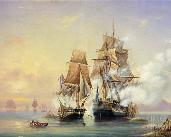 The Poster featuring the painting The Russian Cutter Mercury Captures The Swedish Frigate Venus On 21st May 1789 by Aleksei Petrovich Bogolyubov