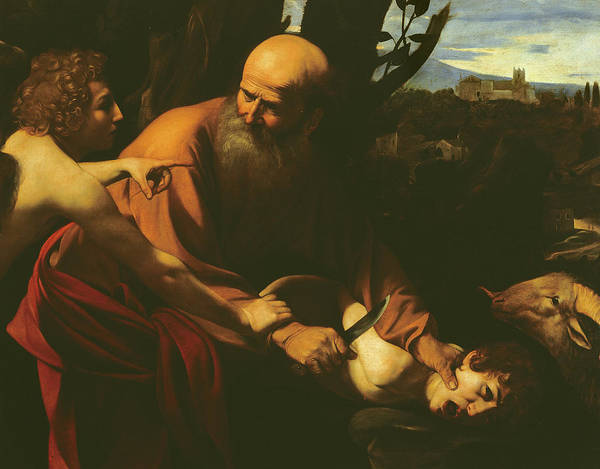 Caravaggio Poster featuring the painting The Sacrifice Of Isaac by Caravaggio