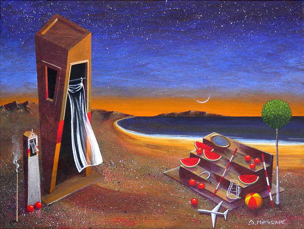 Landscape Poster featuring the painting The School Of Metaphysical Thought by Dimitris Milionis