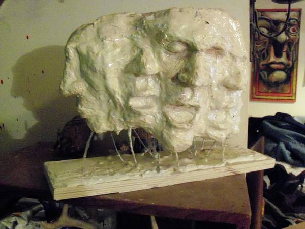 Plaster Poster featuring the sculpture The Scream by John Baker
