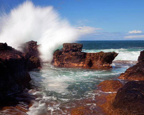 Seascape Poster featuring the photograph The Sea Explodes by Mike Dawson
