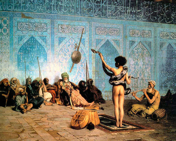 The Serpent Charmer Poster featuring the digital art The Serpent Charmer by Jean Leon Gerome