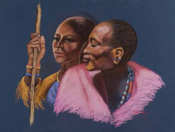 An African Man And Woman Sheperd Their Cattle Africa Massai African Man African Woman Shepards Pink And Gold Colors Realistic Beautiful African Massai  Pam Mccabe Pamela Mccabe Pastel Painting Pasteling Blue Background Poster featuring the painting The Sheperds by Pamela Mccabe