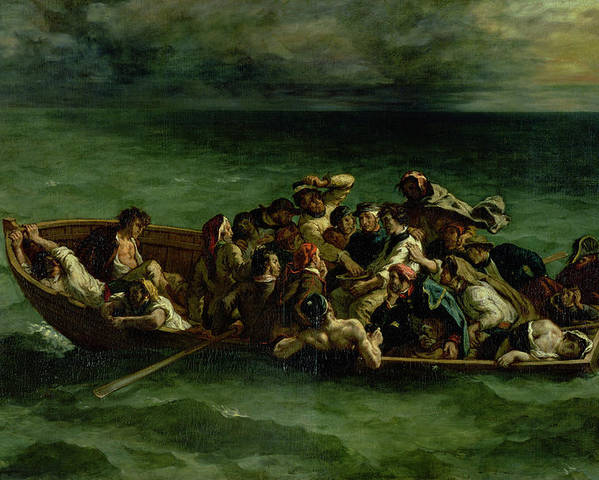The Poster featuring the painting The Shipwreck Of Don Juan by Ferdinand Victor Eugene Delacroix