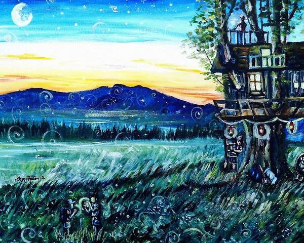 Treehouse Poster featuring the painting The Sleepover by Shana Rowe Jackson
