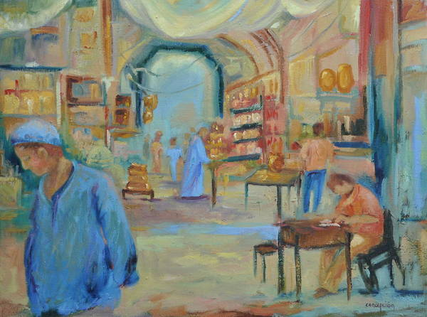 Figurative Poster featuring the painting The Souk by Ginger Concepcion