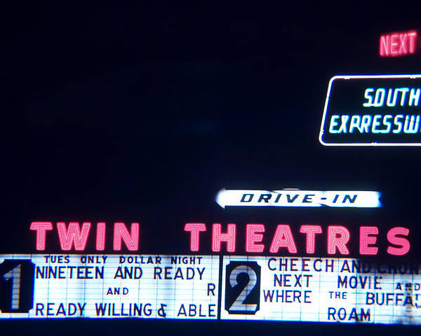 Drive Inn Theaters Poster featuring the photograph The South Expressway Drive Inn by Corky Willis Atlanta Photography