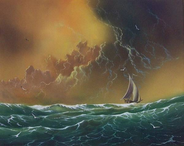 Seascape Poster featuring the painting The Storm by Don Griffiths