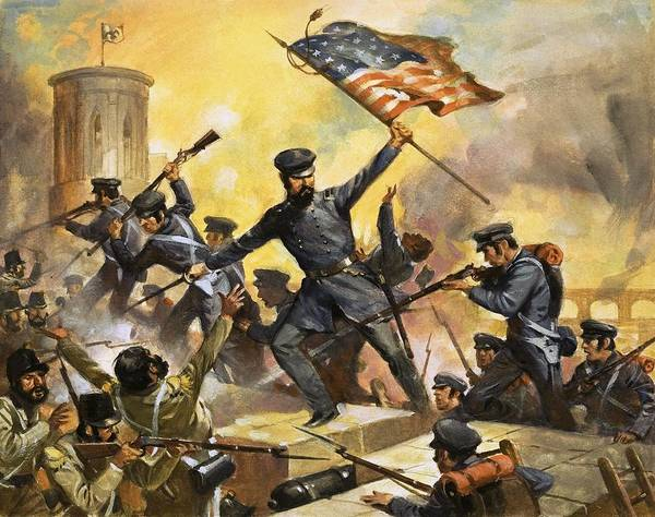 The Storming Of The Fortress At Chapultec By English School (20th Century)fortress; Chapultec; Mexico; America; Army; Soldiers; American; Flag; American Civil War; Robert E Lee; Rifles; Bayonet; Great Commanders: Hero Of The Southland. The Storming Of The Fortress At Chapultec By Captain Robert E. Lee. Us Poster featuring the painting The Storming Of The Fortress At Chapultec by English School