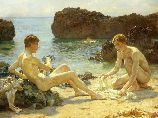 Nude Poster featuring the painting The Sun Bathers by Henry Scott Tuke