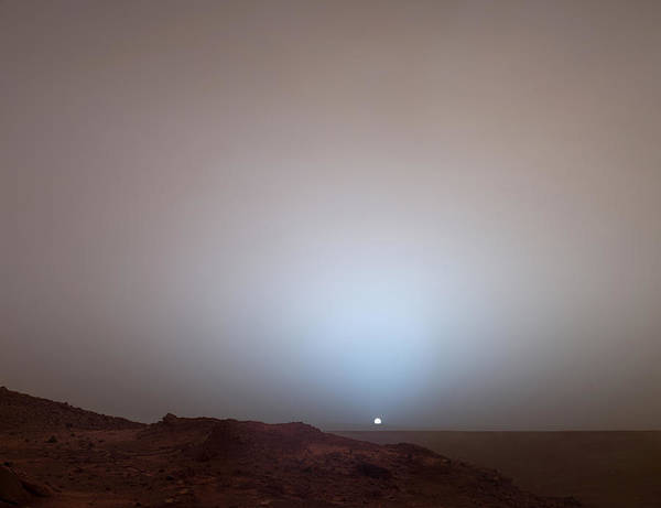 Outdoors Poster featuring the photograph The Sun Setting Below The Rim Of Gusev by Nasa