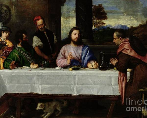 The Poster featuring the painting The Supper At Emmaus by Titian