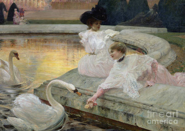 The Swans Poster featuring the painting The Swans by Joseph Marius Avy