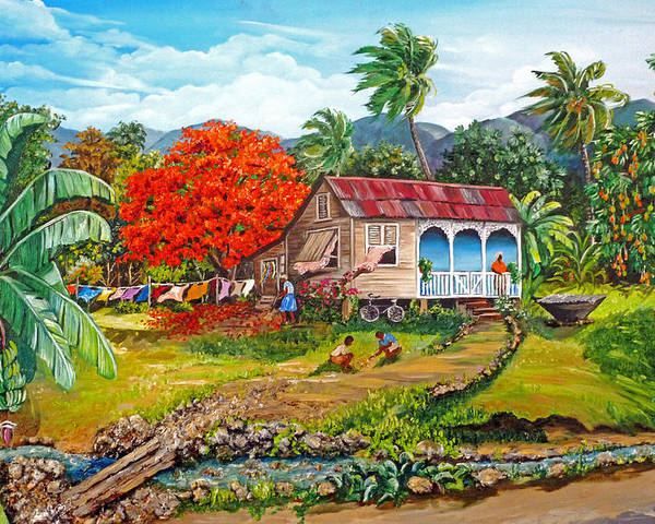 Tropical Scene Caribbean Scene Poster featuring the painting The Sweet Life by Karin Dawn Kelshall- Best