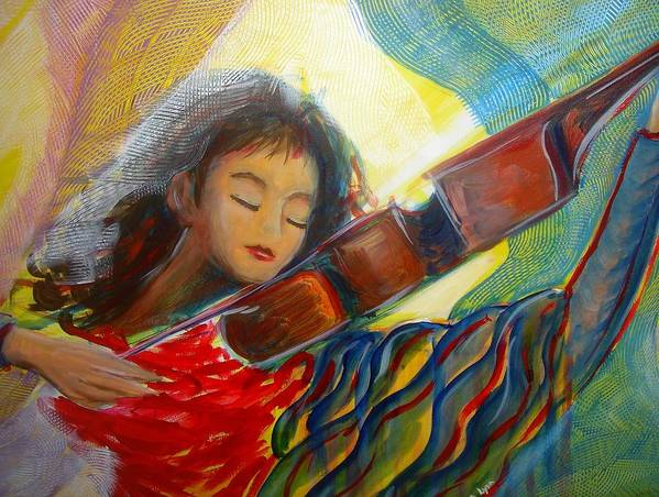 Violin Poster featuring the painting The Sweetest Sounds by Regina Walsh