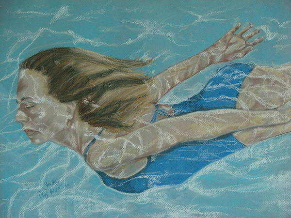 Girl Poster featuring the pastel The Swimmer by Sandra Valentini