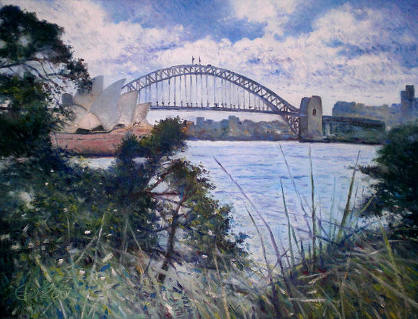 Poster featuring the painting The Sydney Opera House And Harbour Bridge. Australia 2007 by Enver Larney