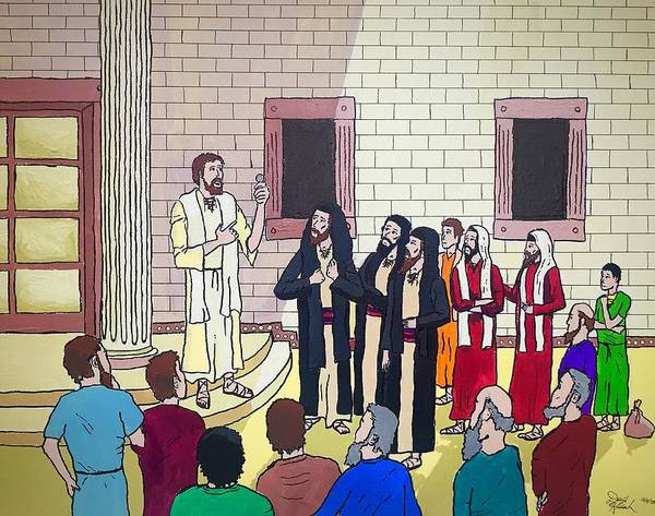 Jesus Christ Taxes To Caesar Pharisees Sadducees Lesson Teaching Temple Bible Poster featuring the painting The Taxes Trap by David Hannah