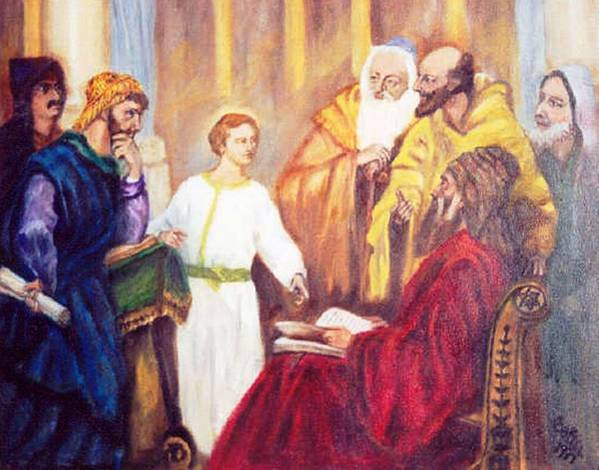 Jesus Pharisies Poster featuring the painting The Teacher by Gloria M Apfel