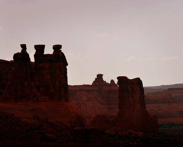 Landscape Poster featuring the photograph The Three Gossips Arches National Park Utah by Christine Till