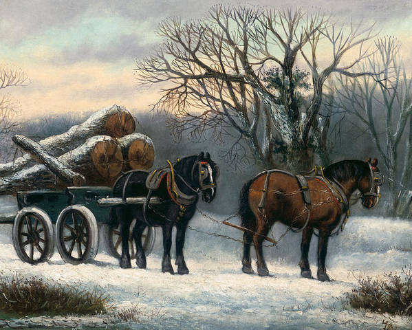 The Poster featuring the painting The Timber Wagon In Winter by Anonymous
