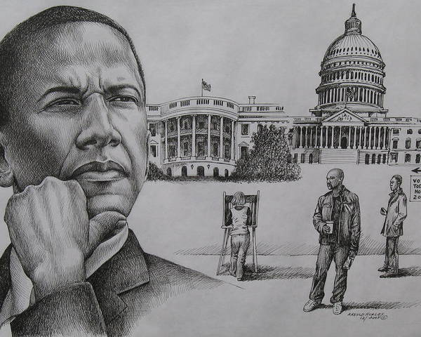 Barack Obama Poster featuring the drawing The Transition by Arnold Hurley