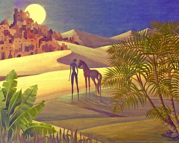 Desert Moon Ancient City Horse Quest Jungle Mystery Poster featuring the painting The Traveller by Jennifer Baird