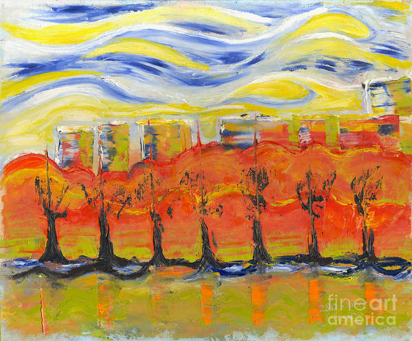 Painting Poster featuring the painting The Trees In Red. Day_march, 28 2015, Nizhny Novgorod, Russia_ by Tatiana Chernyavskaya