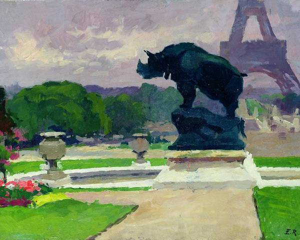 The Poster featuring the painting The Trocadero Gardens And The Rhinoceros by Jules Ernest Renoux