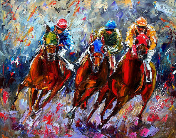 Horses Poster featuring the painting The Turn 2 by Debra Hurd