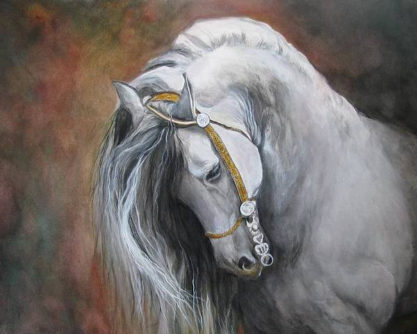 Andalusian Horse Poster featuring the painting The Unreigned King by Nonie Wideman