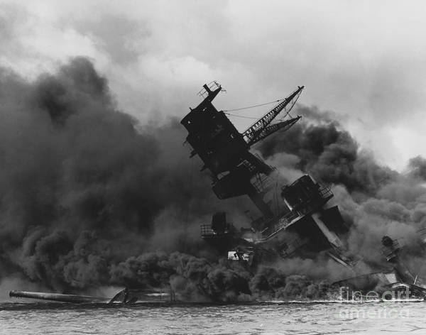 The Uss Arizona (bb-39) Burning After The Japanese Attack On Pearl Harbor Poster featuring the painting The Uss Arizona Bb-39 Burning After The Japanese Attack On Pearl Harbor by Celestial Images