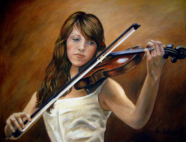Portrait Poster featuring the painting The Violinist by Anne Kushnick