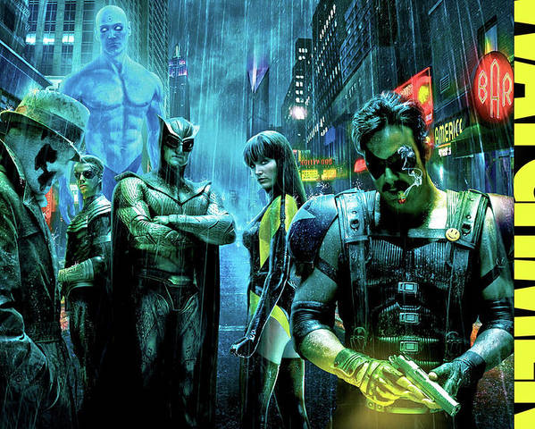 The Watchmen Poster featuring the photograph The Watchmen,nite Owl, Silk Spectre II, Roschach, Dr. Manhattan, Ozymandias, The Comedian by Thomas Pollart