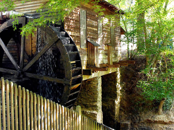 Cabin Poster featuring the photograph The Water Wheel by Eva Thomas