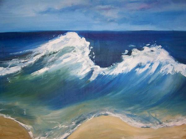 Seascape Poster featuring the painting The Wave by Georgeanne Wayman