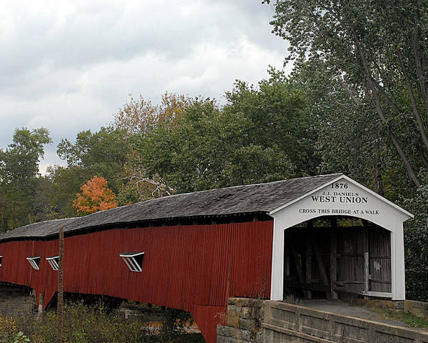 Landscape Poster featuring the photograph The West Union Covered Bridge by John McAllister
