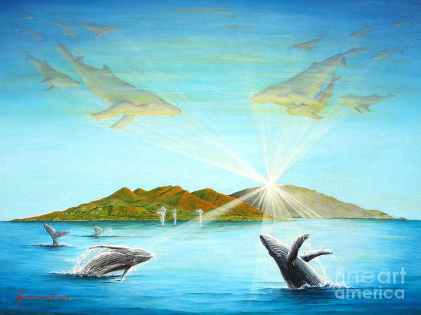Whales Poster featuring the painting The Whales Of Maui by Jerome Stumphauzer