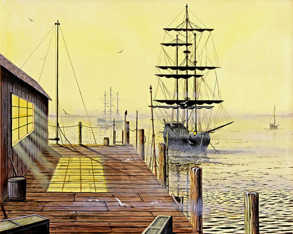 Water Poster featuring the painting The Wharf by Don Griffiths