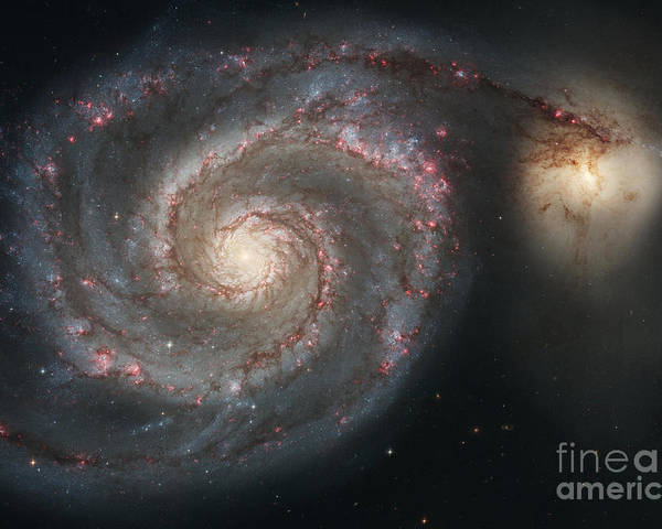 Color Image Poster featuring the photograph The Whirlpool Galaxy M51 And Companion by Stocktrek Images