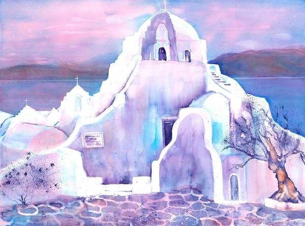 Aegean Sea Poster featuring the painting Greece White Church Of Mykonos by Sabina Von Arx