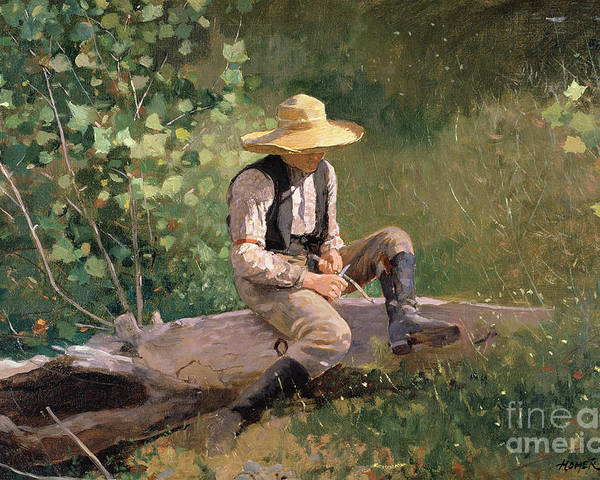 The Whittling Boy Poster featuring the painting The Whittling Boy by Winslow Homer