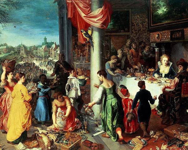 The Poster featuring the painting The Winter Feast by Hendrik van the Elder Balen