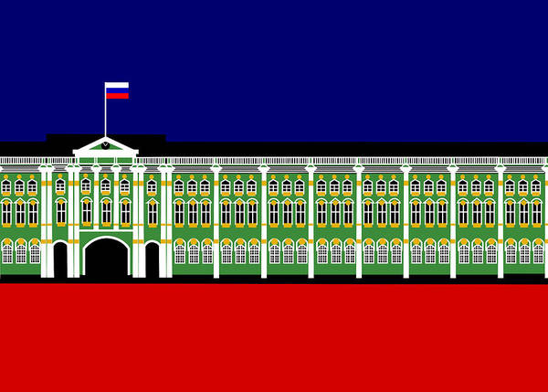 Winter Palace Poster featuring the digital art The Winter Palace Inspiration St Petersburg Russia by Asbjorn Lonvig