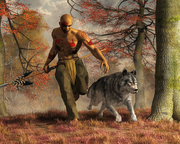 Wolf Teaching Man To Hunt Poster featuring the digital art The Wolf Teaching Man To Hunt by Daniel Eskridge