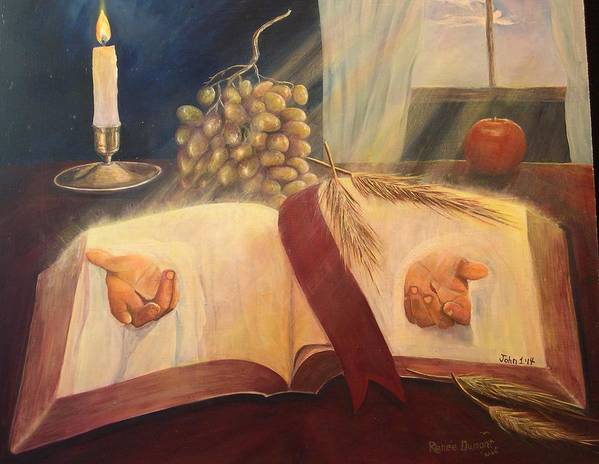 Contemporary Poster featuring the painting The Word Made Flesh by Renee Dumont Museum Quality Oil Paintings Dumont