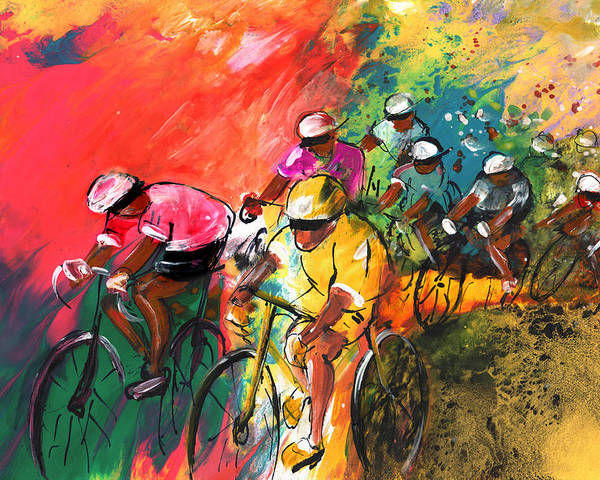 Sports Poster featuring the painting The Yellow River Of The Tour De France by Miki De Goodaboom
